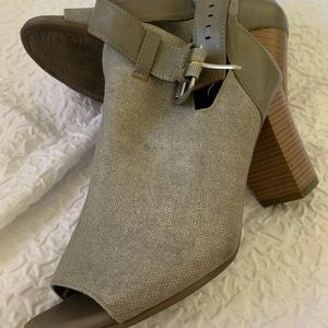Shoes - Grey Ankle Strapped Memory Foam Heels